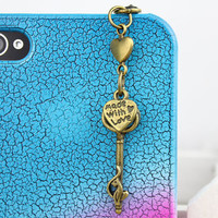3.5mm Retro Bronze key Love Dust-proof Plug  for iphone 4s,iPhone 4,iPhone 3gs,iPod Touch 4,HTC,Nokai,Samsung,Sony