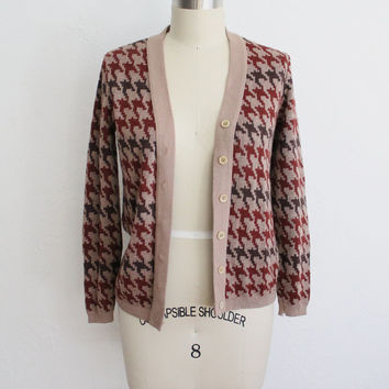 Vintage 70s Brown Oversized Houndstooth Print Knit Cardigan // Retro Small Sweater