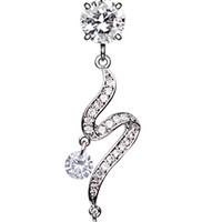 Elegant Swirl Sparkle Belly Button Ring