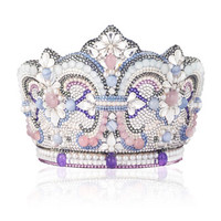 Judith Leiber Couture Crystal Crown Clutch Bag, Silver Multi