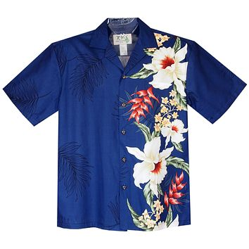 Wild Hibiscus Navy Vertical Border Hawaiian Shirt