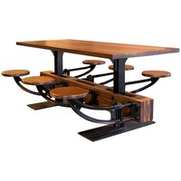 Dining Table Set - Vintage Industrial Iron Cafeteria Swing Out Seat Kitchen