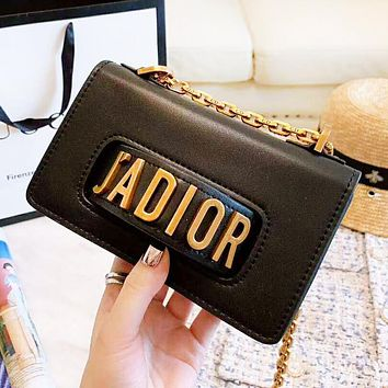 DIOR Fashion New Leather High Quality Shopping Leisure Shoulder Bag Women Black