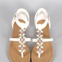 City Classified Cluster Jeweled Thong Flat Sandal