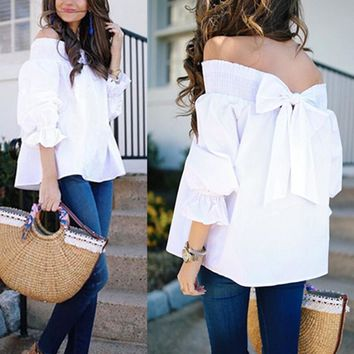 Sexy Off Shoulder Spring Summer Strapless Women Blouse Bow Tops Slash Neck Shirts Casual Loose Small to Plus Size