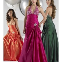 Beautiful Embellished Taffeta V-Neck Halter A-Line Party Dress With Asymmetric Pleats Along Bodice LP80012