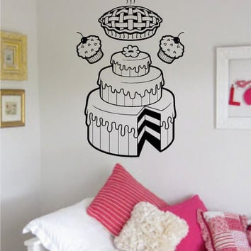 Bakery Cake Pie and Cupcakes Food Design Decal Sticker Wall Vinyl Decor Art