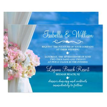 Elegant Floral Beach Summer Wedding Invitation