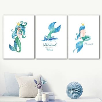 Watercolor Mermaid Tail Crown Quotes Wall Art Canvas Painting Nordic Posters And Prints Wall Pictures Kids Room Nursery Decor