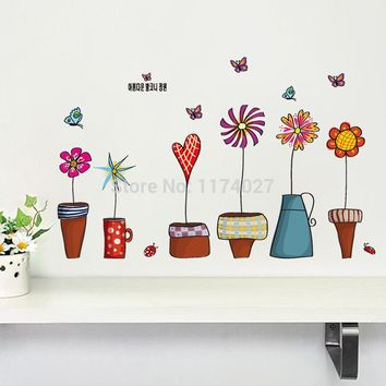 High Quality Cartoon Flower Butterfly wall Stickers Beautiful Window glass Home Decor Decoration Removable art decals