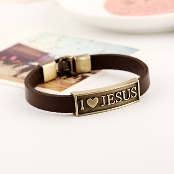 Vintage Punk Buckle Genuine Cow Leather Bracelet Brown Color Alloy I Love Jesus