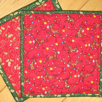 Christmas Pot Holders - Rudolph Hot Pads - Quilted Mug Rugs