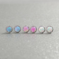 10mm Round Sterling Silver Created Opal and CZ Halo Stud Earrings in White, Light Blue or Light Pink