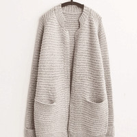 Long Sleeve Patch Pockets Knitted Wool Cardigan