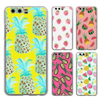 Cute Pineapple Summer Fruit leaf style clear Mobile phone Case cover for Huawei P10 P9 Lite P10 Plus P8 Ascend G7 G8 Mate 9