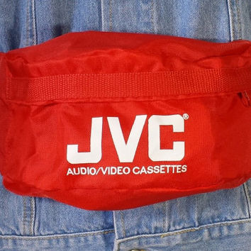 Vintage JVC Audio Red Fanny Pack, 80s 90s Bum Bag Festival Concert Belt Bag Purse, Retro 1990s Hip Hop Hipster Hip Waist Pack Zipper Pockets