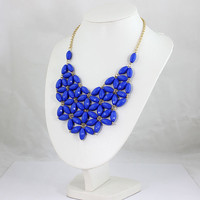 Royal Blue Bubble Statement Necklace,Statement Bubble Necklace,Chunky Necklace,Cluster Necklace-BN124
