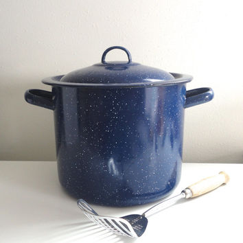 Large Blue Enamel Pot Graniteware in Royal Blue with White Specks