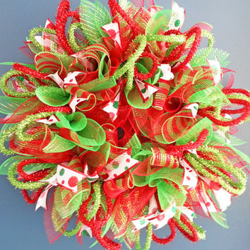 Christmas Red and Green Deco Mesh Sunburst Wreath
