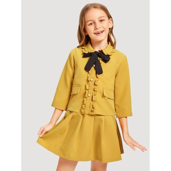 Girls Ruffle Trim Button Up Top & Skirt Set
