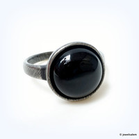 Onyx Ring Silver Black Ring Gem Stone Ring Simple Minimalist Round Ring Geekery Statement Ring BACK TO SCHOOL Friendship Ring