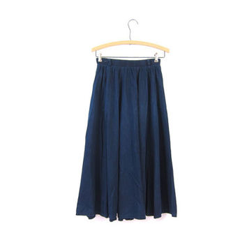 Ink Blue Jean Skirt Long Full Circle Denim Midi Skirt POCKETS High Waist Bohemian Cowgirl Cotton ALine Skirt Boho Skirt Vintage XS Small