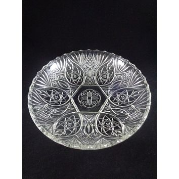 Depression Glass Bowl With Stars And Fan Pattern