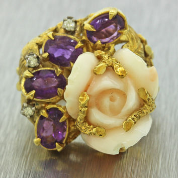 1960s Vintage Free Form 18k Yellow Gold Angel Skin Coral Amethyst Diamond Ring