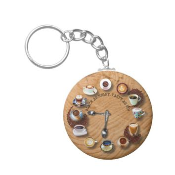 Cups Of Black Coffee With Beans As A Clock Keychain