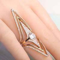 Blucome Filled Zircon Rhombus Rhinestone Rings Copper Wedding Engagement Ring For Women Star Shape Three Pieces Rings Set Anel