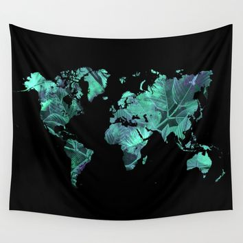 world map 77 blue Wall Tapestry by jbjart