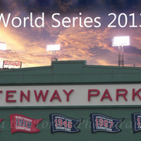 World Series Fenway Park Photography, Red Sox, 2013 World Series, Baseball Sports, Boston Skyscape, Wall Art, 12x16, Gift, Sports Fan