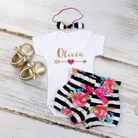 Personalized Girls Outfit | Black and White Striped w/ Fuchsia Floral High Waisted Bloomers and Knotted Headband | Gold Arrow w/ Pink Heart