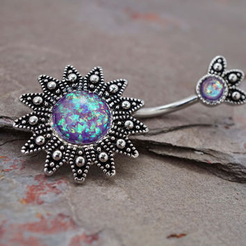 Purple Opal Sun Belly Button Jewelry Ring
