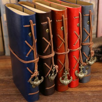 Journal Notebook with Faux Leather Cover & Anchor Pendant B5 Size