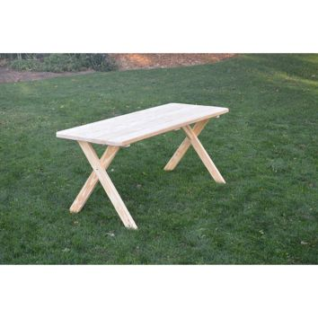 "A & L Furniture Co. Pressure Treated Pine 6' Cross-leg Table Only - Specify for FREE 2"" Umbrella Hole  - Ships FREE in 5-7 Business days"