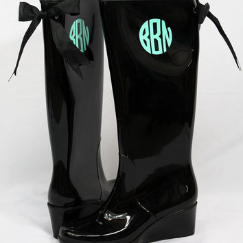 Monogrammed Rain Boots with Preppy Bows
