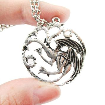Game of Thrones House Targaryen Sigil Three headed Dragon Crest Pendant Necklace