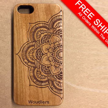 Wooden iPhone Cases - mandala - mandala iphone case - iPhone 5 - 4/4s, 5/5s and iPhone 6 - precision engraved mandala design - FREE SHIPPING