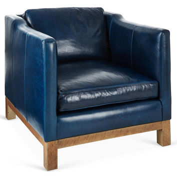 Cara Leather Club Chair, Navy, Accent & Occasional Chairs