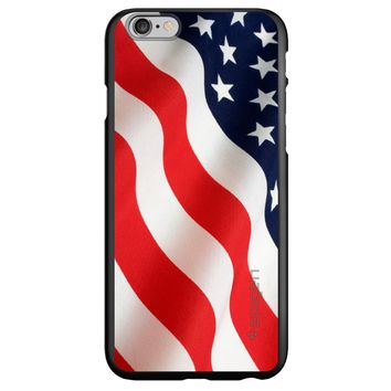 DistinctInk® Spigen ThinFit Case for Apple iPhone or Samsung Galaxy - Red White Blue United States Flag USA