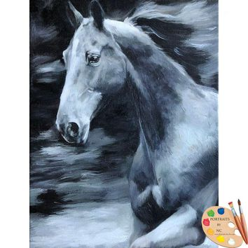 Horse Portraits - Oil Portrait in Black and White 623