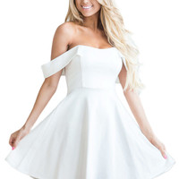 White Off The Shoulder Flare Babydoll Dress LAVELIQ
