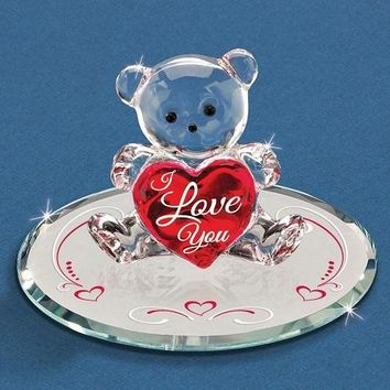 "Glass Baron ""I Love You"" Bear Glass Figurine"