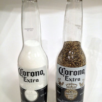 Corona Salt and Pepper Shakers - Repurposed Beer Bottle - Corona Beer Bottles - Recycled Beer Bottle - Beer Bottle - Tail Gating Accessories