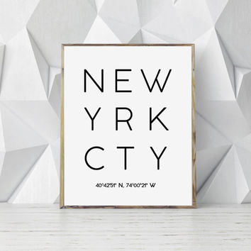 New York Printable, New York City Print, New york poster, Typography Poster, Printable Wall Art, Modern Print, Minimal Print, Travel Print