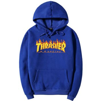 THRASHER Flame hooded Sweater  Men and Women's Clothes Blue