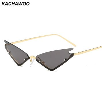 Kachawoo vintage cat eye sunglasses ladies red gold black metal semi-rimless cat eye mirror sun glasses for women party