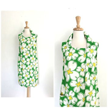 Vintage 60s Mod Dress - floral dress - cotton sundress - Lily Pulitzer style - M L
