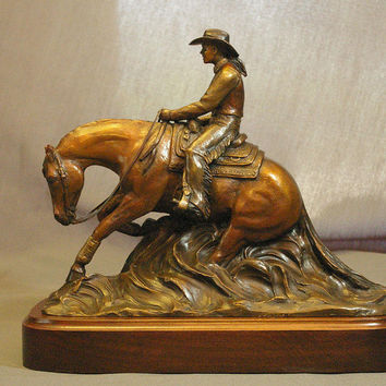 Reining Horse And Lady Rider Bronze Sculpture Sculpture by Kim Corpany - Reining Horse And Lady Rider Bronze Sculpture Fine Art Prints and Posters for Sale
